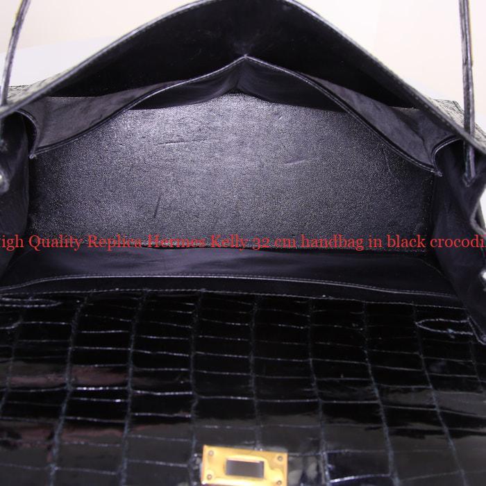 7d612062ef7c6 High Quality Replica Hermes Kelly 32 cm handbag in black crocodile ...
