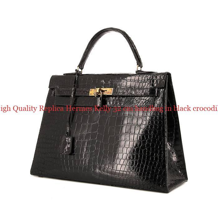 57b9a93c500 High Quality Replica Hermes Kelly 32 cm handbag in black crocodile ...