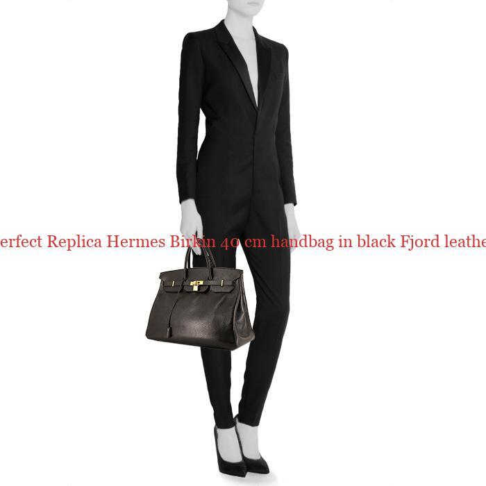 7c93d87ecab6 Perfect Replica Hermes Birkin 40 cm handbag in black Fjord leather ...