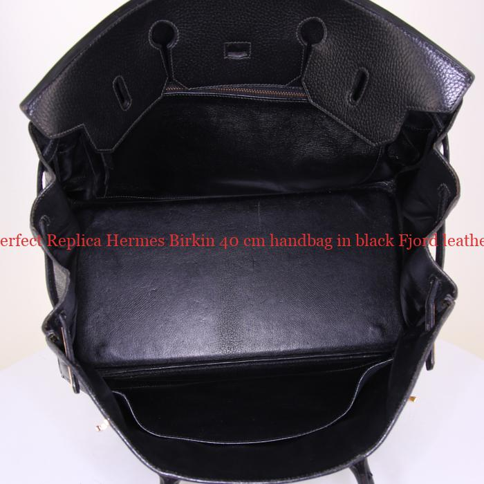 9b88beb2d8a Perfect Replica Hermes Birkin 40 cm handbag in black Fjord leather ...