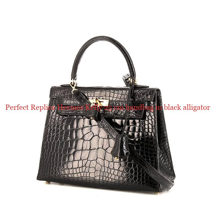 260e0b3ca35a Perfect Replica Hermes Kelly 25 cm handbag in black alligator ...