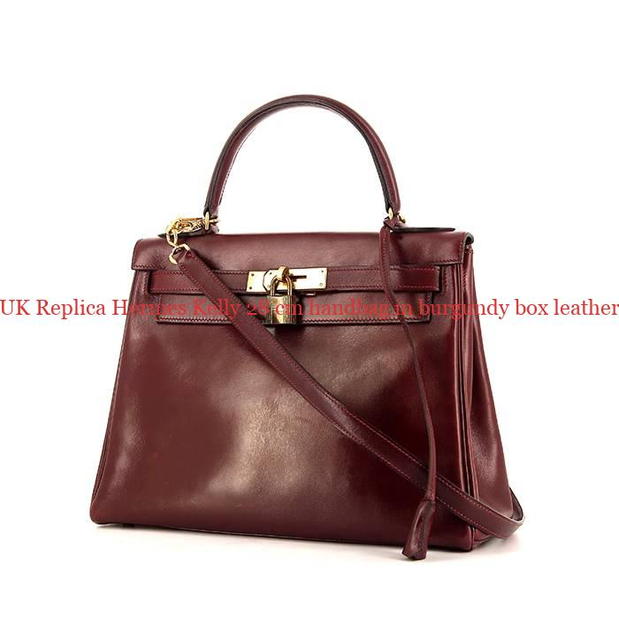 3ccf53e3d1 UK Replica Hermes Kelly 28 cm handbag in burgundy box leather ...