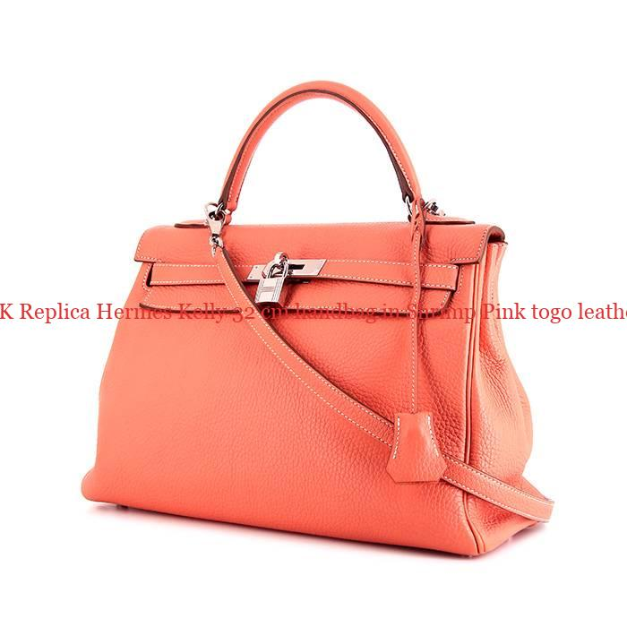 8b495d3da78d UK Replica Hermes Kelly 32 cm handbag in Shrimp Pink togo leather ...