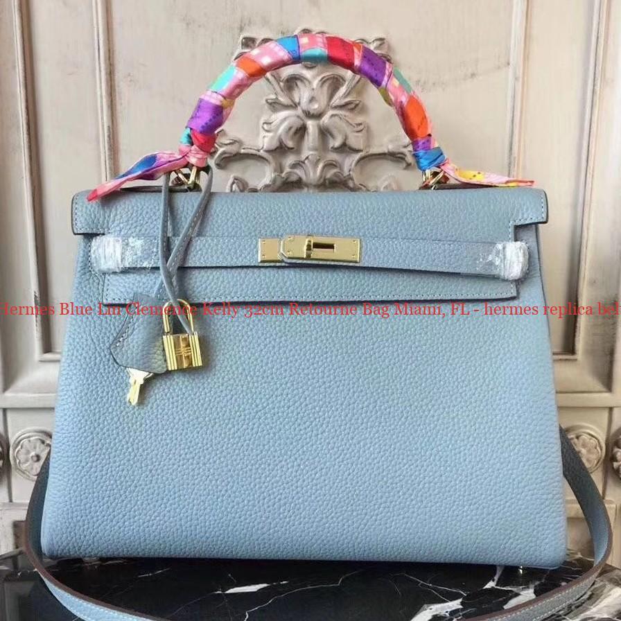 50% Off Discount Hermes Blue Lin Clemence Kelly 32cm Retourne Bag ... 12225f7214ce3